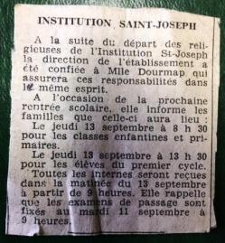 Depart des soeurs dauphiné libéré 8 septembre 1973